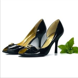 Guess black patent leather d'orsay heels women's 8